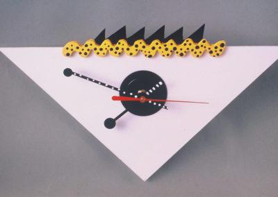 White Black and Yellow Clock
