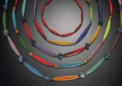 Assortment of Enameled Tube Necklaces