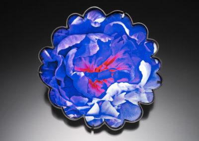 Blue Peony Brooch